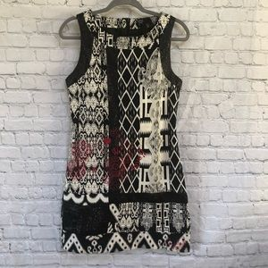Desigual Black White Print Sheath Dress